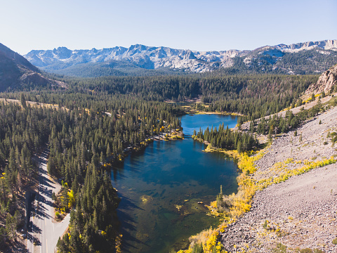 istock View of Twin Lakes, Lake George, the southeastern slope of Mammoth Mountain, Mono County, eastern California, eastern Sierra Nevada, Inyo National Forest, shot from drone, summer view 1071592322
