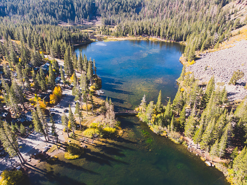 istock View of Twin Lakes, Lake George, the southeastern slope of Mammoth Mountain, Mono County, eastern California, eastern Sierra Nevada, Inyo National Forest, shot from drone, summer view 1071592344