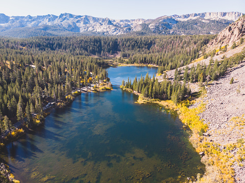 istock View of Twin Lakes, Lake George, the southeastern slope of Mammoth Mountain, Mono County, eastern California, eastern Sierra Nevada, Inyo National Forest, shot from drone, summer view 1071592370
