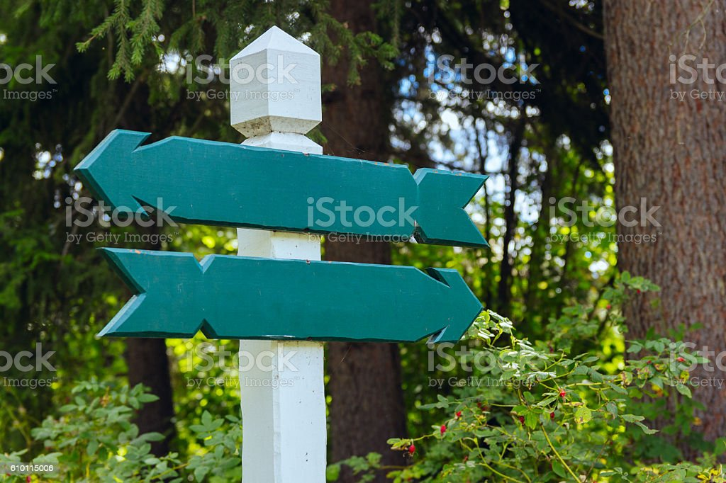 view of two wooden directional signs stock photo