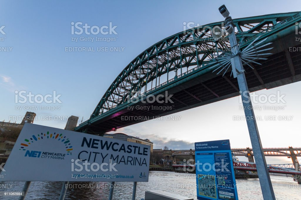 View of Tyne bridge and entrance to the Newcastle city marina at Newcastle Quayside stock photo