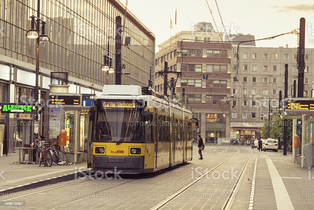 View of U-bahn yellow tram parked on the GontardStrasse royalty-free stock photo
