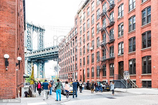istock View of under Manhattan Bridge in Dumbo outside exterior outdoors in NYC New York City, brick building, blue sky, people busy crowd walking, Japanese store 937830360