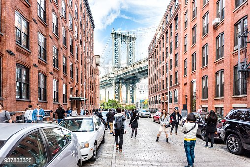 istock View of under Manhattan Bridge in Dumbo outside exterior outdoors in NYC New York City, brick building, blue sky, people busy crowd walking 937833320