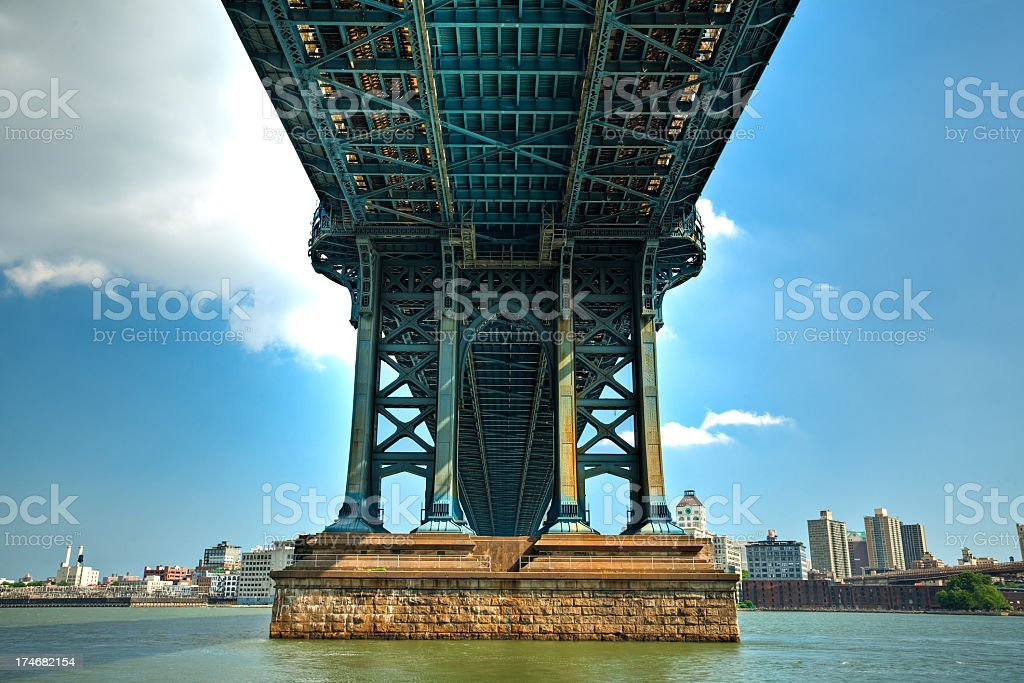 A view of underneath the Manhattan Bridge royalty-free stock photo