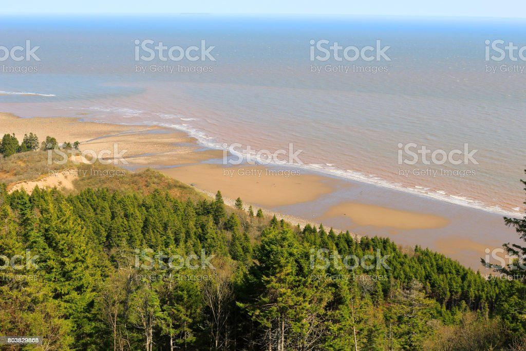 View of unspoilled wilderness with cliffs and Melvin Beach on the Fundy trail in New Brunswick, Canada stock photo