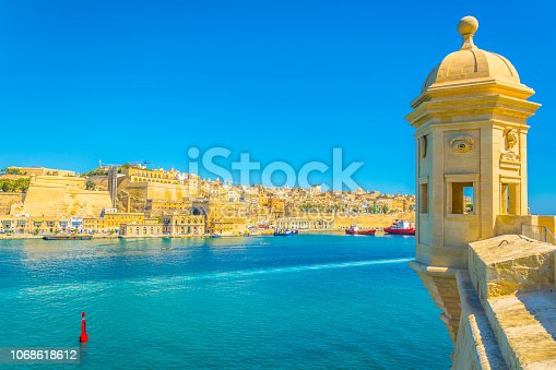View of Upper Barrakka gardens in Valletta, Malta