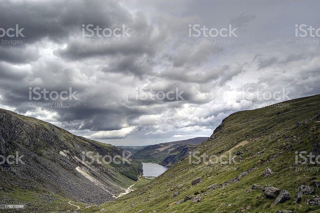 View of Upper Lake, Glendalough. Ireland stock photo