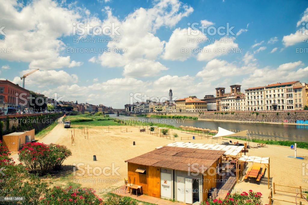 view of urban beach in florence,Italy stock photo
