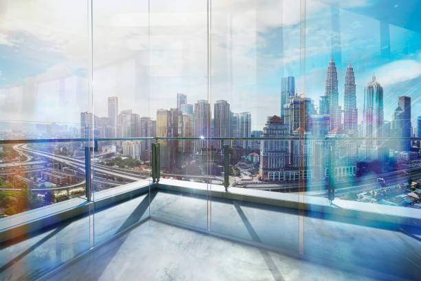 View of urban cityscape from empty business office stock photo