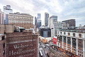 New York City, USA - April 6, 2018: View of urban cityscape, skyline, rooftop building skyscrapers in NYC Herald Square Midtown with Macy's store, construction, aerial