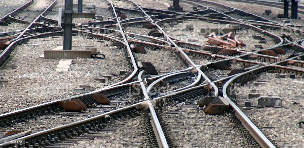 View Of Urban Railroad Track Junction stock photo