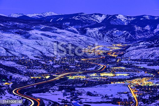 View of Vail Valley at Sunset and Dusk - Scenic views of Vail, Beaver Creek, Avon, Edwards, Colorado USA.