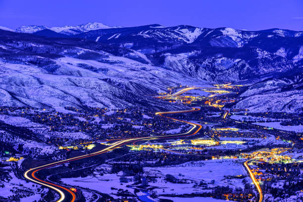 View of Vail Valley at Sunset and Dusk View of Vail Valley at Sunset and Dusk - Scenic views of Vail, Beaver Creek, Avon, Edwards, Colorado USA. avon colorado stock pictures, royalty-free photos & images