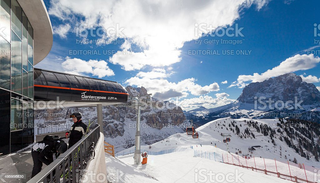 View of Val Gardena ski resort in Alps stock photo