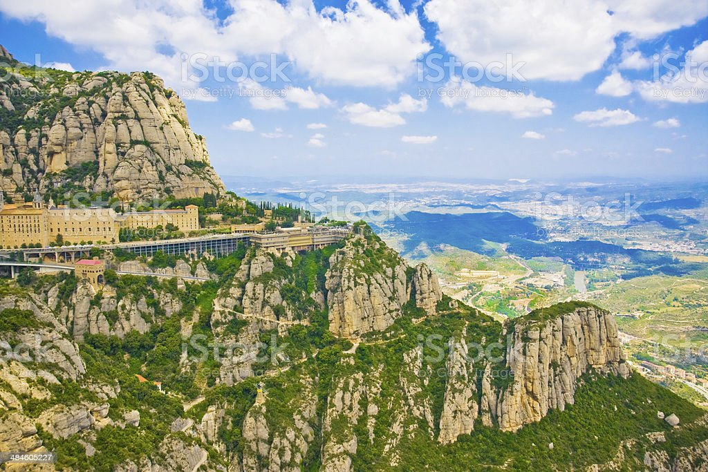 View of valley and Montserrat Monastery, Catalonia, Spain royalty-free stock photo
