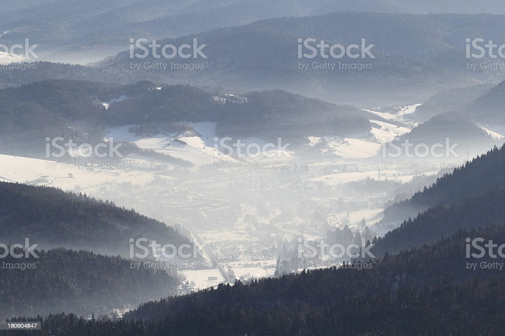 View of Valley From Top Mountain in winter royalty-free stock photo