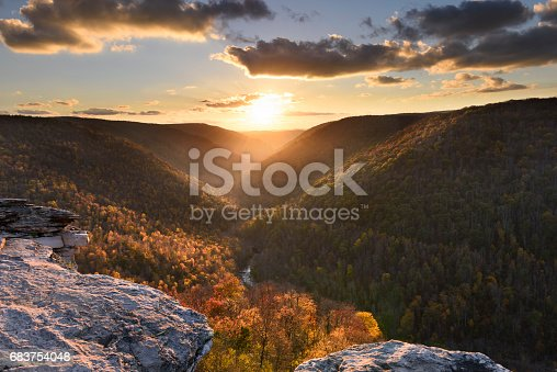 Autumn Trees at sunset from Lindy Point in West Virginia