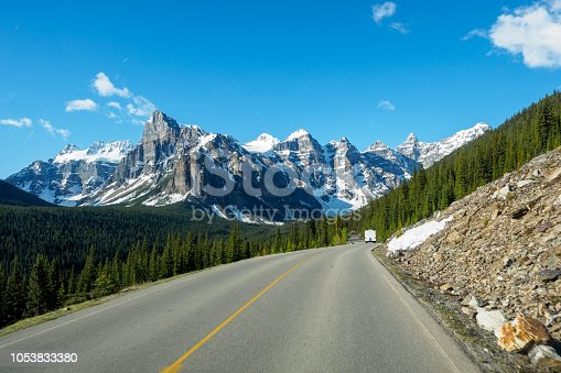 View of Valley of the Ten Peaks, Driving on the Road, Moraine Lake, Banff National Park, Alberta, Canada