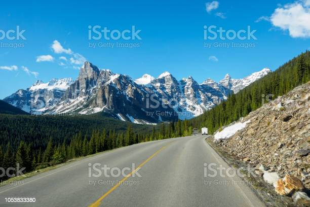 Photo of View of Valley of the Ten Peaks, Driving on the Road, Moraine Lake, Banff National Park, Alberta, Canada