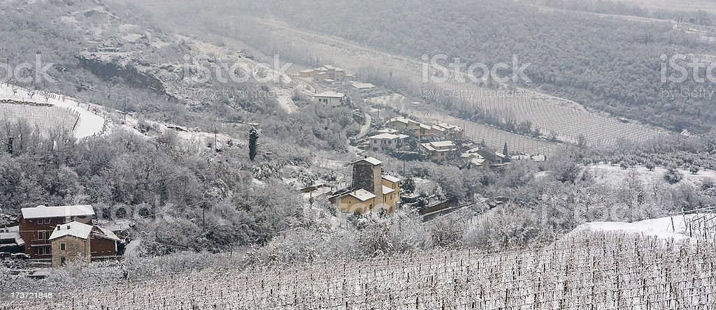 View Of Valpolicella Covered In Snow royalty-free stock photo