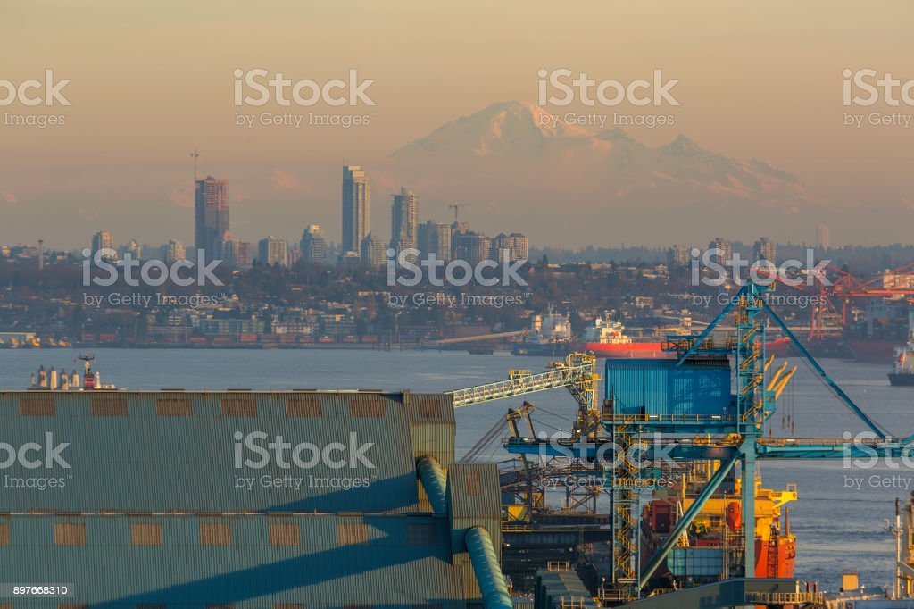 View of Vancouver BC with Mount Baker in Washington State at sunset stock photo