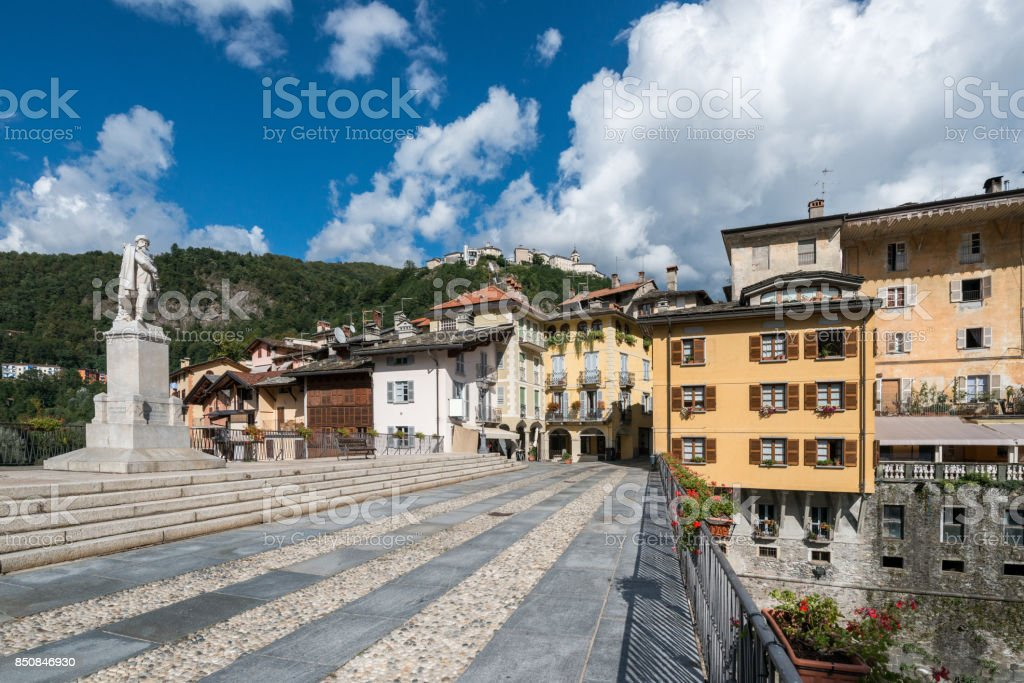 View of Varallo, Italy. On the top of the mountain, the 'Sacro Monte'. stock photo