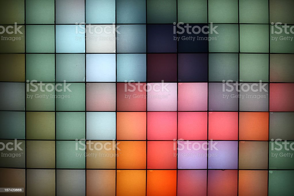 View of various types of pixel colors in cubes stock photo