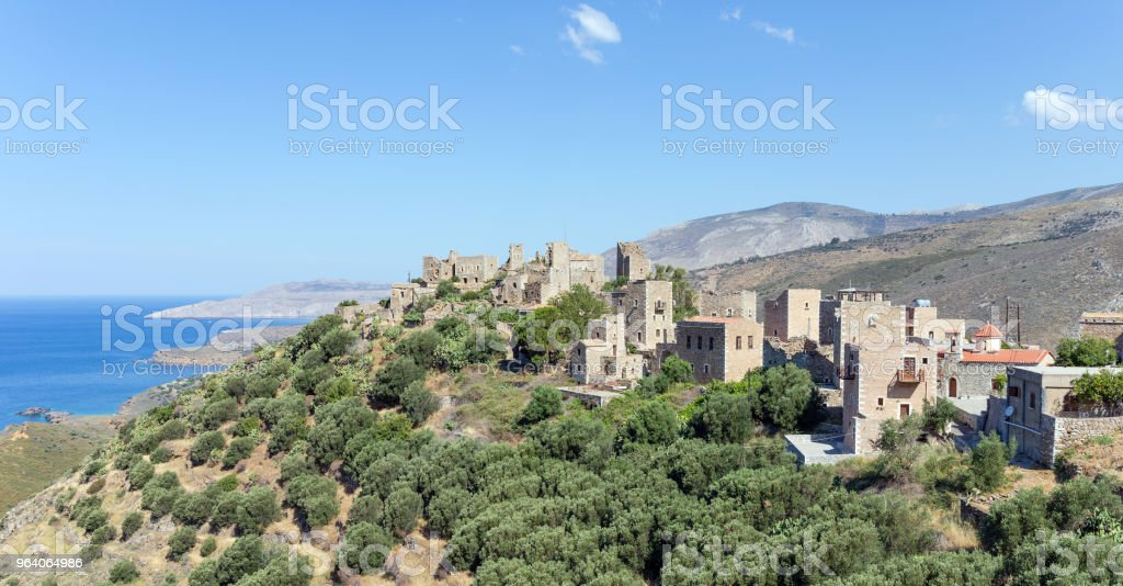 View of Vatheia village in Mani, Peloponnese, Greece. - Royalty-free Abandoned Stock Photo