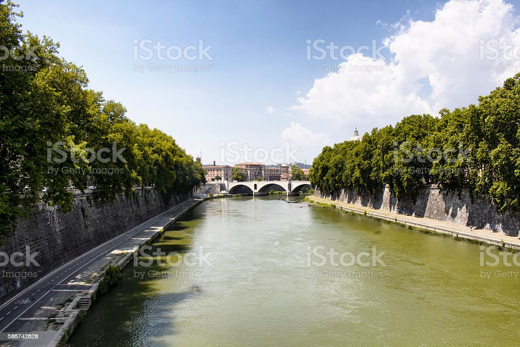 View of Vatican City from Ponte Sisto bridge in Rome stock photo