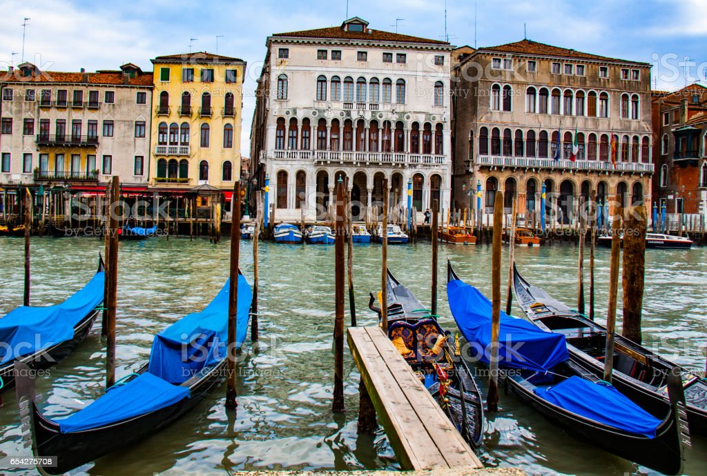 View of Venice in winter stock photo