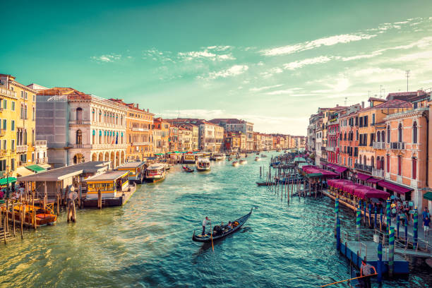 view of venice's grand canal - italy stock photos and pictures