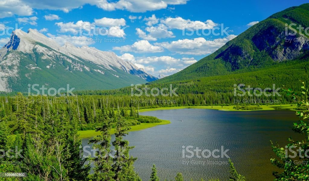 View of Vermillion Lakes Viewpoint at Banff, Alberta, Canada stock photo