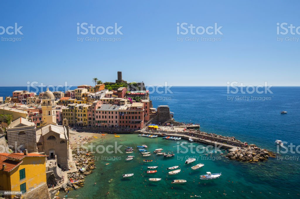 View of Vernazza town stock photo
