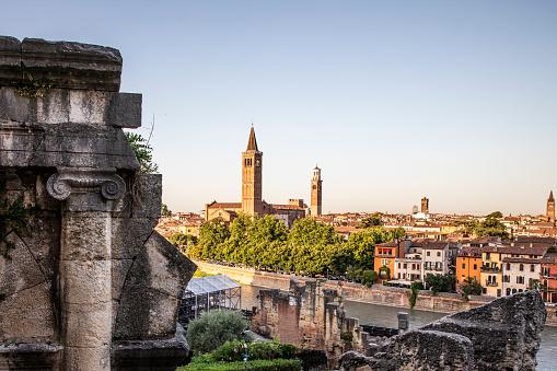 View of Verona city and ancient Roman columns