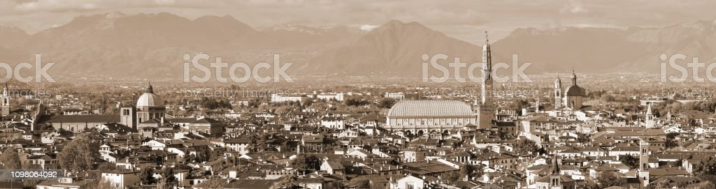 view of Vicenza City in Italy with speia toned effect and the mo - foto stock