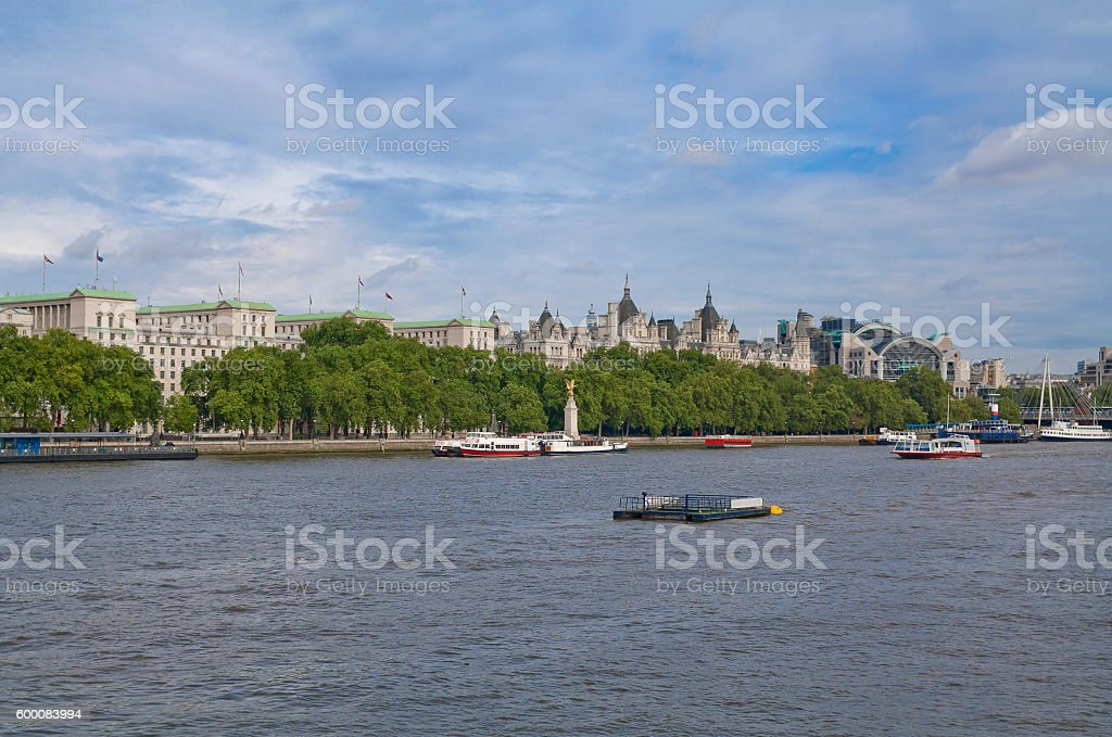 View Of Victoria Embankment In London England Across Thames River Royalty Free Stock Photo