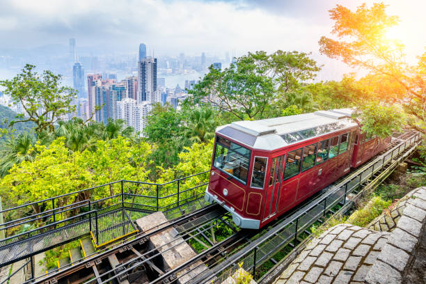 View of Victoria Peak Tram in Hong Kong. stock photo