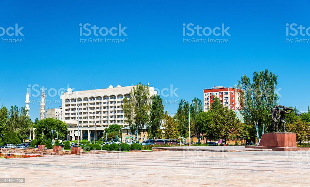 View of Victory Square in Bishkek - Kyrgyzstan stock photo