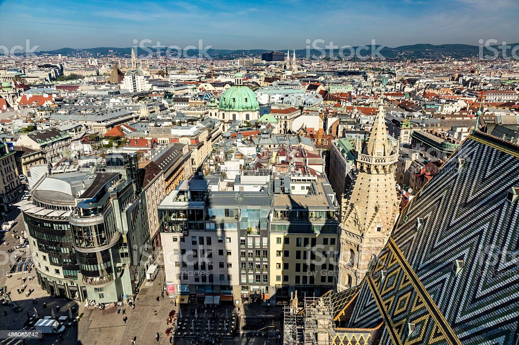 View of Vienna from the St.Stephan Cathedral stock photo