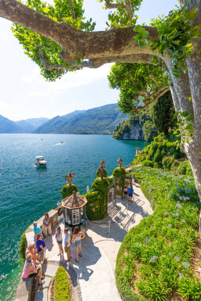 View of Villa del Balbianello, Lake Como, Lombardy, Italy. stock photo