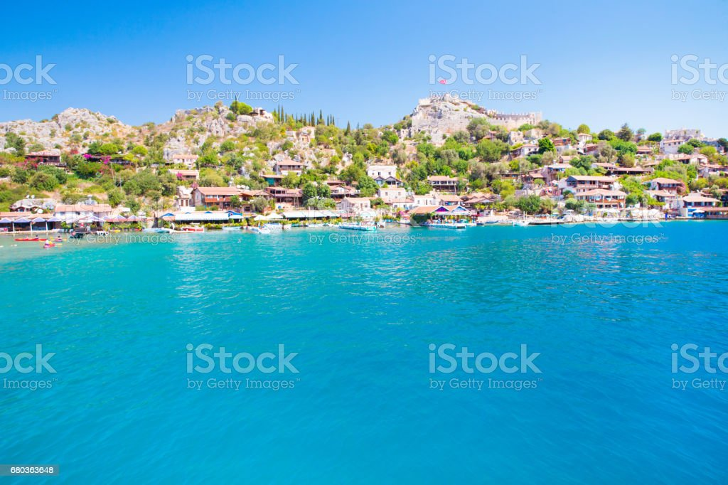 view of village from the sea royalty-free stock photo
