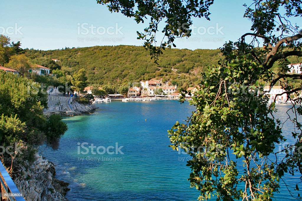 View of Village of Frikes, Ithaca,  Greece stock photo