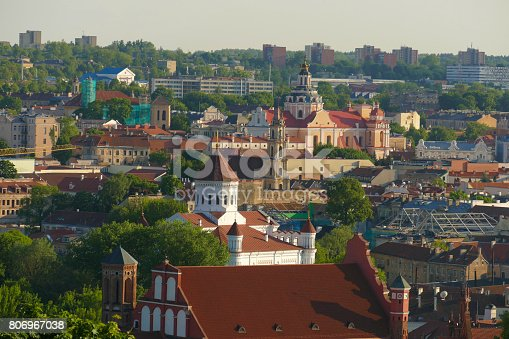 Panorama of the city of Vilnius with many monuments, churches, castles and greenery. City listed as a UNESCO World Heritage site.