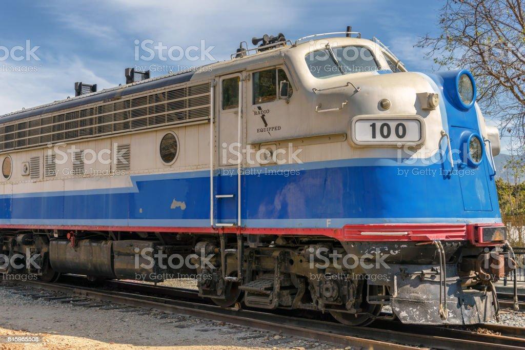 View of vintage train locomotive stock photo
