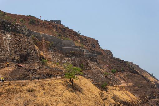 View of Vishalgad entrance gate and walls, Vishalgad Fort, Kolhapur, Maharashtra, India.