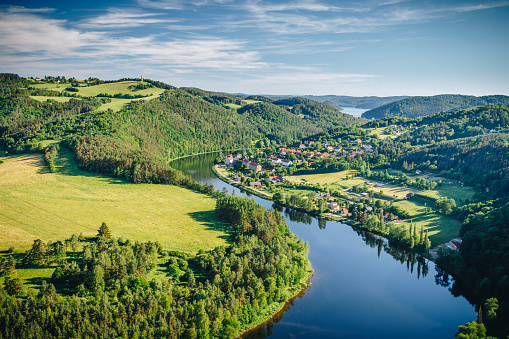 istock View of Vltava river horseshoe shape meander from Solenice viewpoint, Czech Republic 876667064