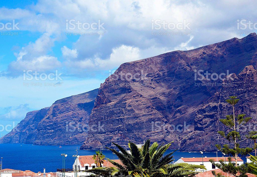 View of volcanic cliffs Los Gigantes on Tenerife. stock photo