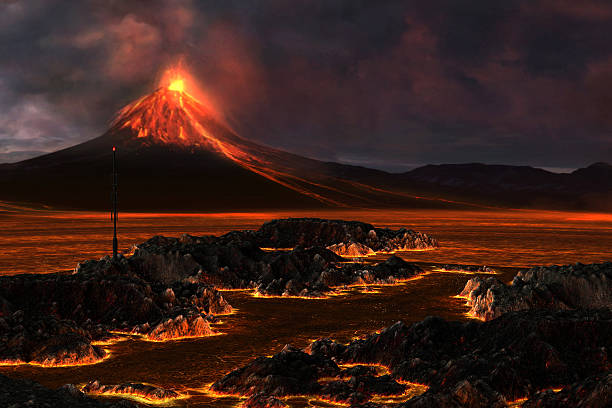 View of volcanic mountain and lava flow stock photo