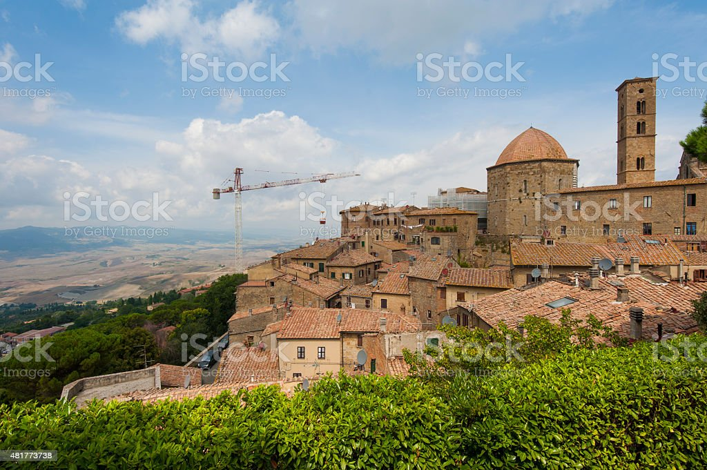 View of Volterra and landscape stock photo